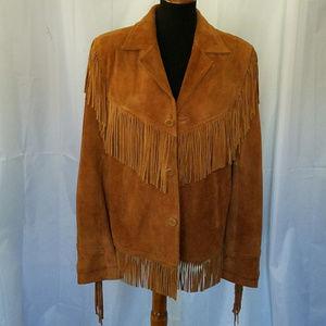 Vintage Jackets & Coats - VINTAGE BROWN BERMAN'S WESTERN SUEDE FRINGE JACKET